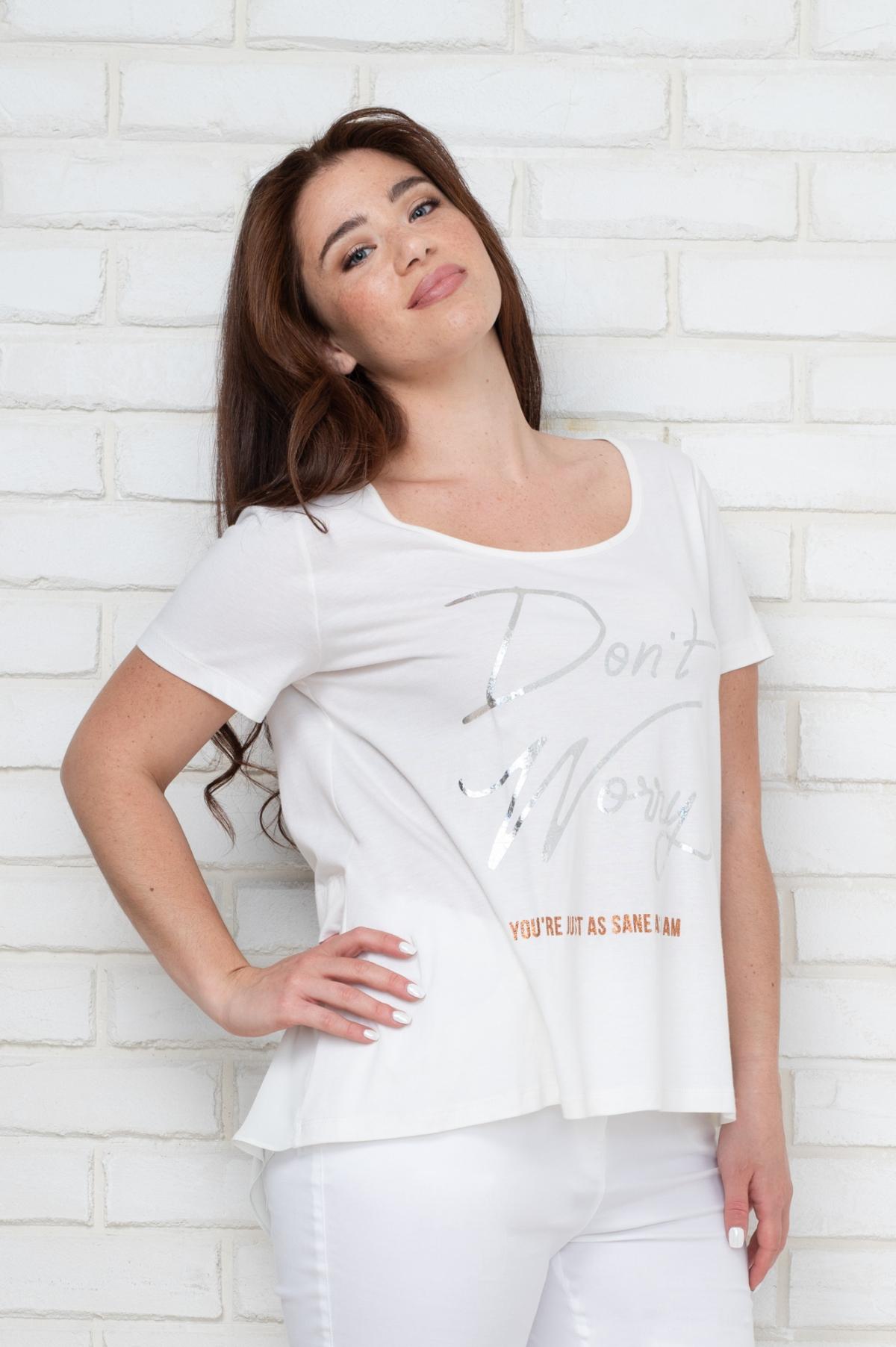 1e202339974 ΜΠΛΟΥΖΑ ΜΕ ΜΕΤΑΛΛΙΚΟ ΤΥΠΩΜΑ - Real Lady - Shop Online